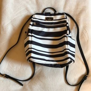 Black and white striped kate spade backpack